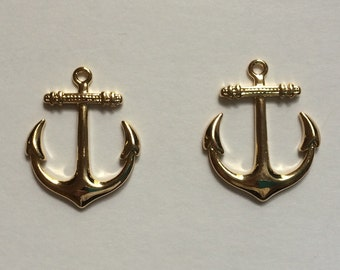 Pair of Anchor Charms Gold Plated - Would make a great pair of earrings!