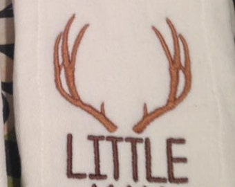 Little Man with Deer Antlers on burp cloth