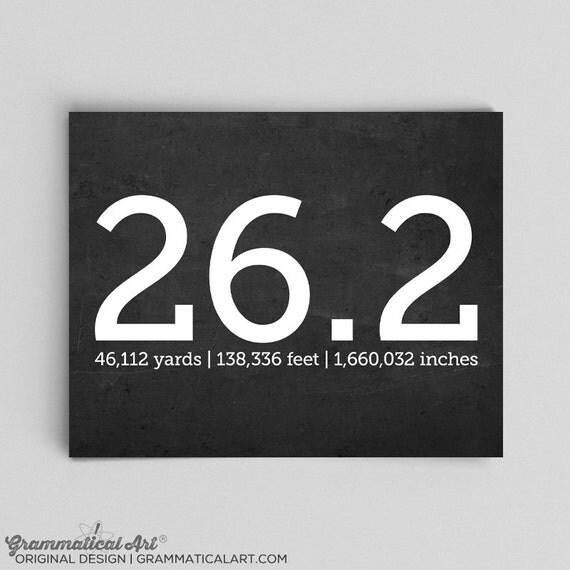 Running 26.2 Marathon Print with Yards Feet Inches Runner Gifts for Runners Gifts Marathon Posters Custom Marathon Prints Running for Life