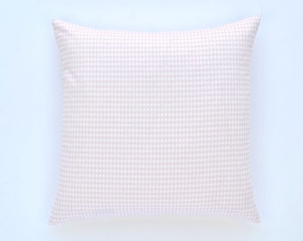 "Decorative Houndstooth Pillow Cover, Pink and White - 20"" x 20"" Throw Pillow, Pillow Cover"