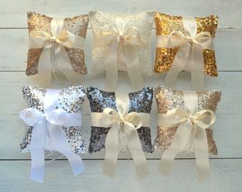 Wedding Ring Bearer Pillow - Taffeta Sequin with Satin Bow