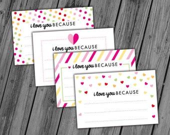 Printable Valentine Cards, Printable Valentine Notes, Love Notes, Valentines Day Printable, I Love You Because - INSTANT DOWNLOAD