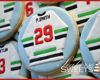 Hockey Jersey Cookies (quantity: 12) sports sweater number ice personalized team favour favor