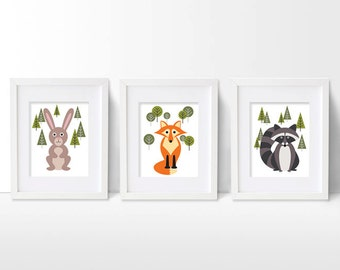 Woodland Nursery Art, Art Print Set, Fox, Bunny Rabbit and Raccoon Artwork, Forest Animals Wall Art