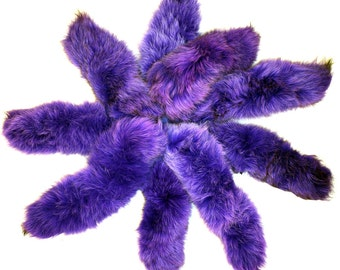 Blue Fox Tails Dyed Purple Key Chains