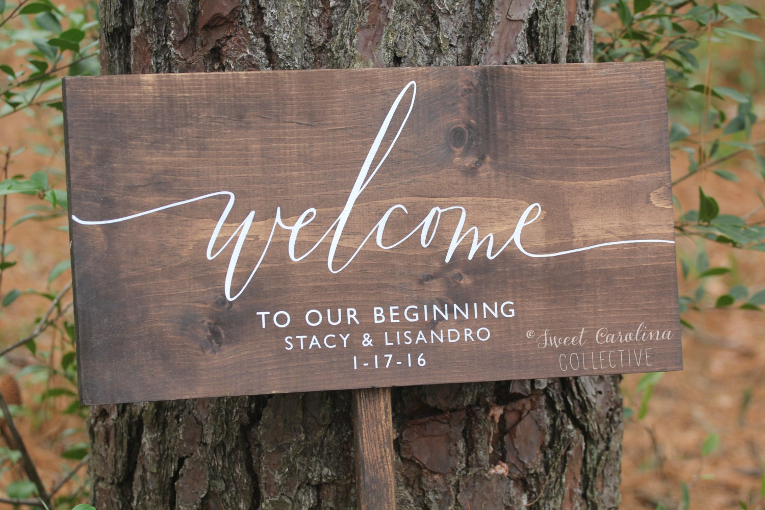 Welcome To Our Beginning Wedding Sign Wooden Wedding Welcome