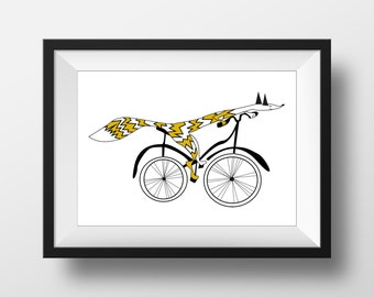 Fox print, cycling animal drawing, hand drawn quirky illustration, nursery wall art, kids room artwork
