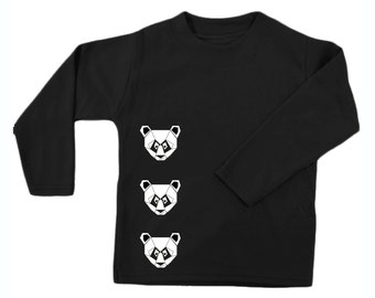 Minimal children shirt, Geometric panda kids, unisex baby clothes, hipster top