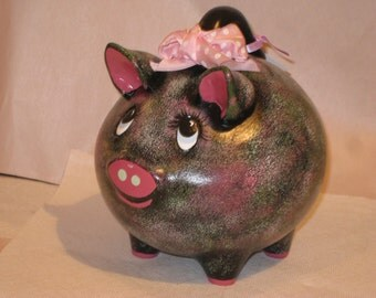 """Ceramic Pig Bank,  hand painted by Joan Davis, 8 x 5 x 8"""" Black and pink"""