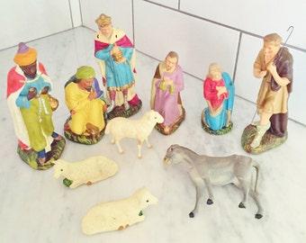 Vintage German Creche Figures, Chalkware Nativity Figures, Antique Creche Figurines, Manger Scene, Christmas Decor