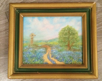 Framed Bluebonnet Painting, Vintage Bluebonnet Art, Framed Original Painting, Oil Painting Bluebonnet