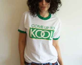 Vintage Distressed Trashed Kool Cigarettes White and Green Ringer Tee