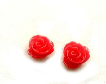 Red Rose Stud Earrings resin red post earrings Handmade Gift