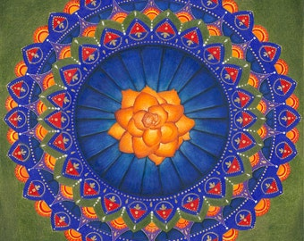 "Orange Rose Mandala 11x11"" Giclee Print"