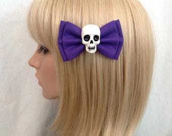 Purple skull hair bow clip rockabilly psychobilly gothic Lolita rock punk pin up girl creepy skeleton horror fabric ladies girls women