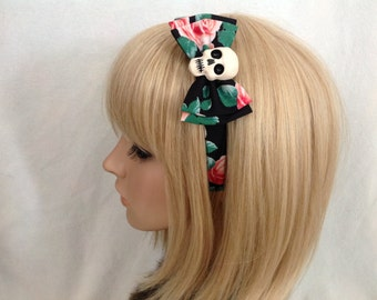 Skull and roses headband hair bow rockabilly psychobilly sugar gothic Lolita cute pin up skeleton rose red dark black accessories punk