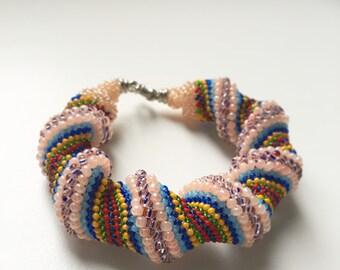 Rope Spiral Bracelet Multicolor Bracelet Bead Woven Bracelet Beaded Bracelet Cuff Bracelet Chunky Bracelet Boho Chic Hippie Bracelet
