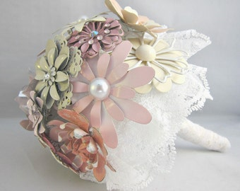 SPECIAL OFFER PRICE, Brooch Bouquet, Enamel Flower Bouquet, Pink Brooch Bouquet, Vintage Brooch Bouquet (Large)