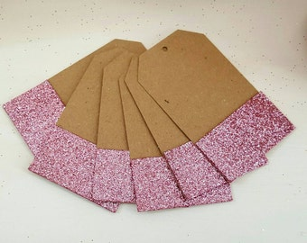 Pack of Gift Tags Wedding Label Brown Glitter Blank Luggage Kraft+Strings - Rose Gold / Dusty Pink