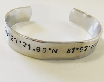 Coordinate latitude longitude lat long custom cuff bracelet -- anniversary, wedding, baby gift