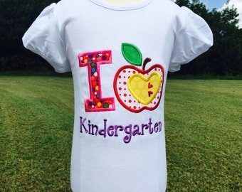 I LOVE KINDERGARTEN-Embroidered Bodysuit or T-Shirt-Any Grade