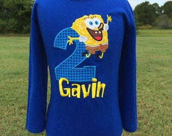 SPONGEBOB Personalized EMBROIDERED Birthday Bodysuit or T-shirt-Yellow and Blue Version