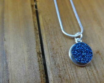 Titanium Blue Druzy Necklace, Faux Druzy Pendant Necklace, Blue Necklace, Blue Stone Necklace, Blue Gemstone Necklace, Charm Necklace