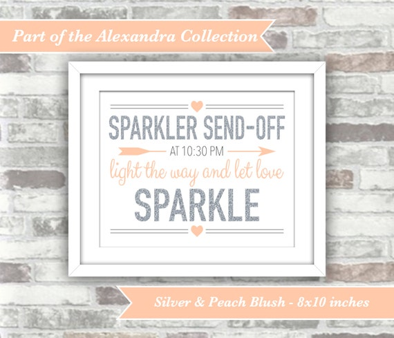 PRINTABLE Digital File - ALEXANDRA Collection - Wedding Sparkler Send Off Sign - Let Love Sparkle - Glitter Effect Peach Blush - 8x10