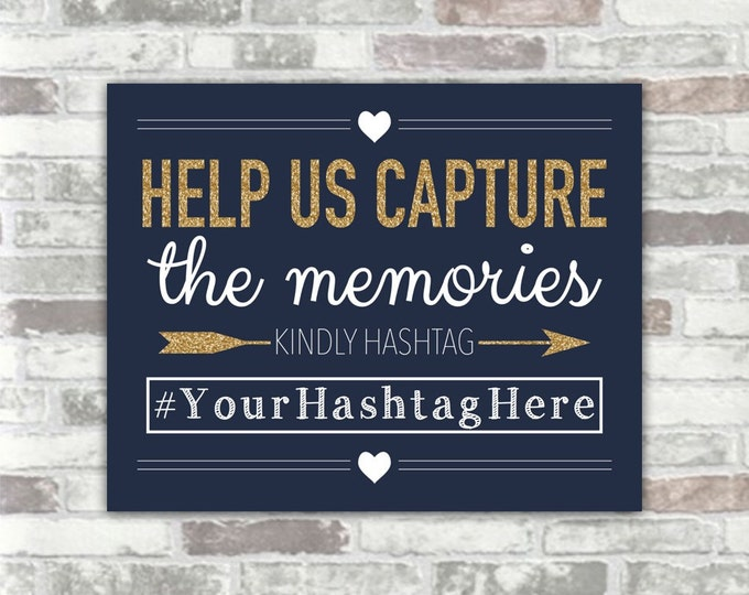 PRINTABLE Personalised Wedding Hashtag Sign - Navy, White and Gold Glitter Effect - 8x10 digital files - Social Media Photos Sharing Bridal