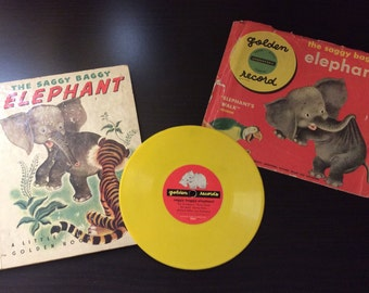 "Little Golden Book set ""The Saggy Baggy Elephant"" first printing, sing-along record."