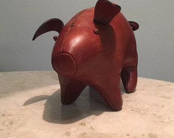Mid Century Abercrombie Omersa era leather pig