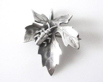 George Shiebler Sterling Silver Maple Leaf Brooch Pendant With Beetle