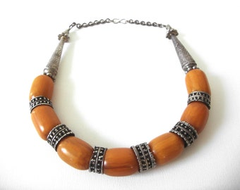 Old Yemen tribal Amber Bakelite Bead Necklace Capped With Silver Beads