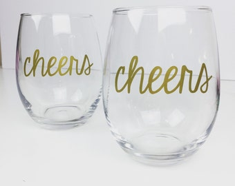 Cheers Stemless Wine Glass