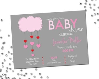 Valentines Baby Shower Invitation - Valentines Baby Shower - Heart Cloud - Light Grey Pink and Red - Printable