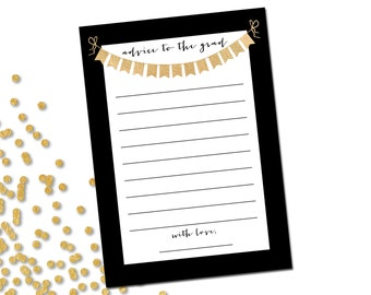 Advice to the Grad - Graduate Advice Card - Printable - INSTANT DOWNLOAD