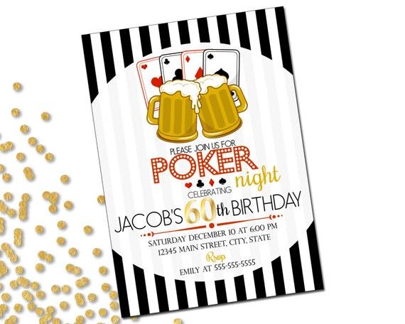 Poker Birthday Party Invitation 60th Birthday Invite Poker Night
