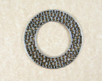 Link, Connector, Ring - Large Circle Link, Silver Circle Link (A13278-AS) - Antiqued Silver - 50x2mm - Qty. 6