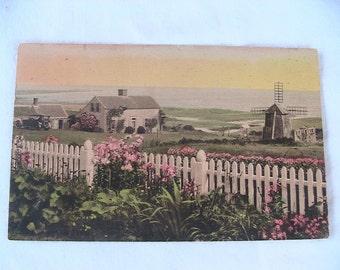 Vintage Postcard Holland Windmill Paper Ephemera Dutch Watercolor Hand Painted