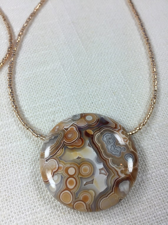 Mexican Laguna Lace Agate Pendant - Long Necklace - Layering Necklace
