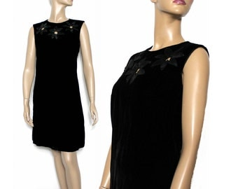 Vintage 1960s Dress Black Velvet Sleeveless Couture Shift  Mad Man Femme-Fatale Rockabilly Garden Party Pinup Bombshell