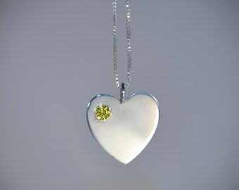 Large Thai Silver Heart Pendant set with a 4mm yellow CZ