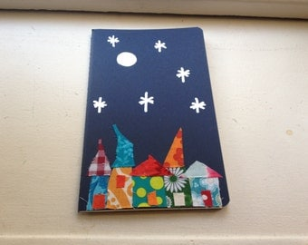 Hand decorated Moleskin Notebooks with Magical villages - night scene