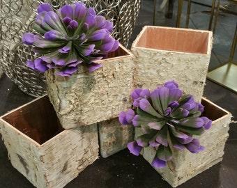 Birch bark vases,Wood boxes,Pot planter,Flower box,Rustic baskets,Wedding Centerpiece,Square Flower Pot,Personalized Table Centerpiece Wood