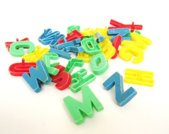 Vintage Plastic Letters, 35 Pieces, Stick Back