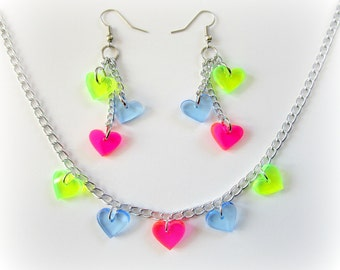80s Neon Rainbow - Pink, Green & Blue Dangle Laser Heart Earrings and Necklace Set
