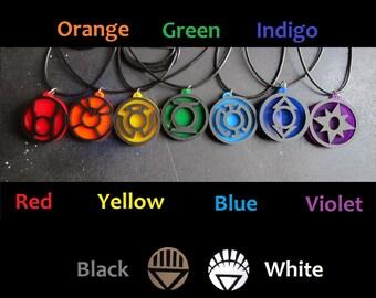 Lantern Corps Emotional Spectrum Pendant Necklace Green Red Yellow Orange Blue Indigo Violet White Black