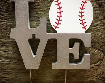Cake Topper-LOVE Baseball Wedding Cake Topper-Wedding Decor-Baseball Wedding-Baseball Theme-Wedding Cake