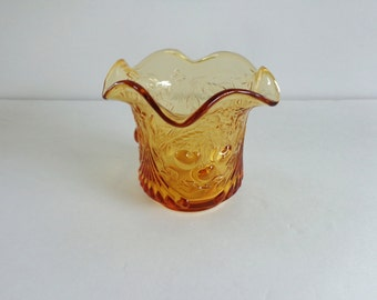 Amber Depression Glass Votive Cherry Pattern Vintage