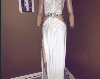 Beautiful white celebrity inspired prom or birthday dress